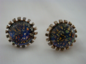 Huge 1970s Cufflinks set with 'Dragon's Breath' Glass Jewels (Sold)
